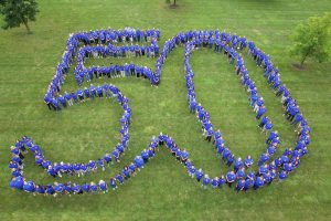 All-Staff photo celebrating LLCC 50th anniversary kickoff