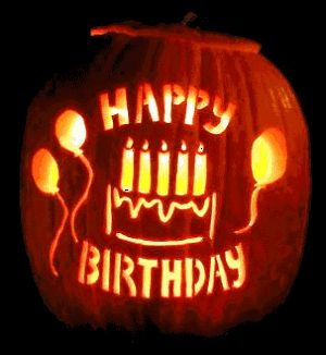 Happy birthday carved pumpkin