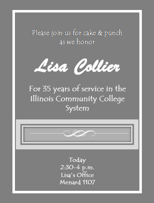 reception for Lisa Collier from 2:30 to 4 p.m. in Menard 1107