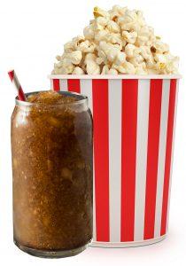 slushie and popcorn