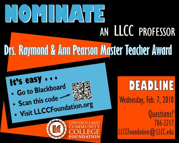 Nominate an LLCC professor for the Pearson Master Teacher Award by Feb. 7