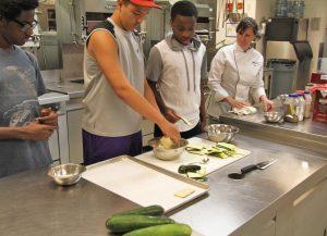Career Launch teens making zucchini chips