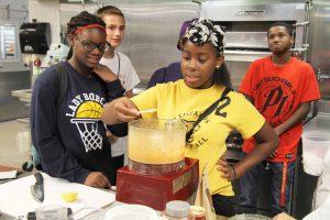 Career Launch teens making hummus