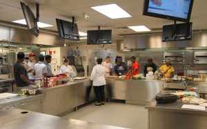 Nancy Sweet with Career Launch teens in culinary lab