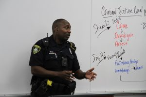 Springfield Police Department officer talking to Career Launch teens
