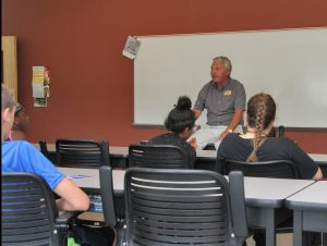 Bob Howard talking to Career Launch teens about truck driver training