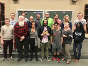 The Lamp staff with Tim McKenzie, professor of journalism and humanities