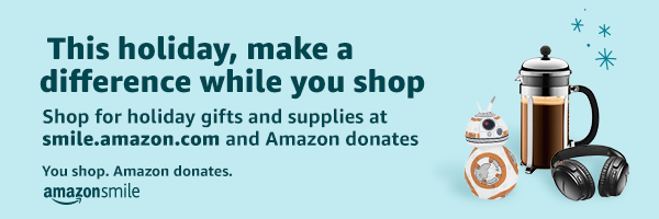 This holiday, make a difference while you shop. Shop for holiday gifts and supplies at smile.zmazon.com and Amazon donates. You shop. Amazon donates. AmazonSmile
