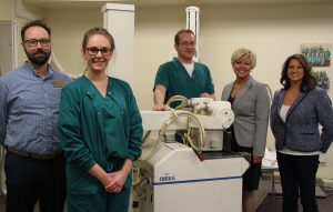 Andrew Harmon, instructor, radiography; Casey Best, radiography student; Elliot Dawson, radiography student; Marjorie King, director, medical imaging and radiation oncology services at Memorial Medical Center; Janelle Murphy, program director radiography
