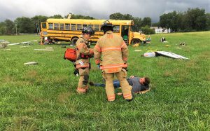 simulated aircraft disaster drill