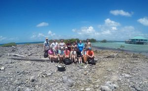 BIO 208 students that participated in a cleanup of Tobacco Caye Reef in Belize