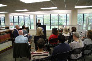 Dr. Charlotte Warren at donation ceremony
