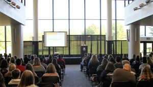 Dr. Charlotte Warren speaking at Campus Visit Day
