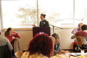 Sheridan Lane speaking at High School Appreciation Lunch