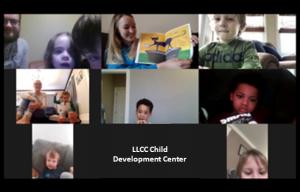 Child Development Center staff reading to children online