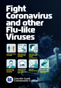 Fight Coronavirus and other Flu-like Viruses. Avoid contact with sick people. Wash your hands often with soap and water for at least 20 sec. Cover your coughs and sneezes with a tissue. Then throw the tissue away. Avoid touching your eyes, nose and mouth. Stay home when you're sick including 24 hours after fever is gone. Clean and disinfect surfaces. Get a flu vaccine. The CDC recommends everyone six months and older get a flu vaccine each season. LLCC. Lincoln Land Community College