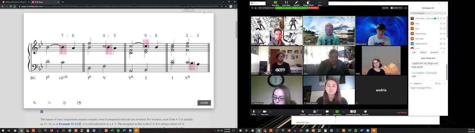 Music notation and virtual class via Zoom