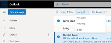 In Outlook 365, across the top of the screen, under the search box, there are the options: Emply folder, Not junk, Move to. Select Not junk and then Phishing to report the email directly to Microsoft.