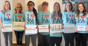 I heart FA. FAFSA Completion Assistance Now Available Virtually Through Zoom!