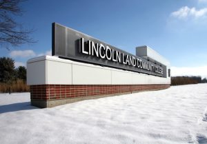 Lincoln Land Community College sign, snow