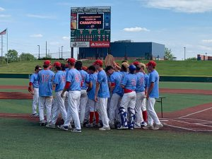 Loggers Baseball Team on field after winning Region 24 title