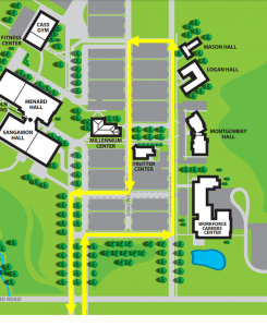 The Graduate Parade route enters campus from the main entrance at the intersection of Shepherd and Toronto Roads. Head east from entrance. Take first right and head south. Turn left in front of the Workforce Careers Center, heading east. Pass the Trutter Center and Montgomery, Logan and Mason Halls. Then turn left (north). Then take the first left , and head west passing Millennium and Trutter centers. Then turn right, heading north. Follow until road T's. Then turn left to follow main road out of campus.