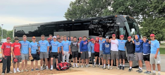 2021 Loggers baseball time outside the bus before heading to Oklahoma for D2 World Series play