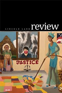 Lincoln Land Review. Artwork on cover with the theme of justice.