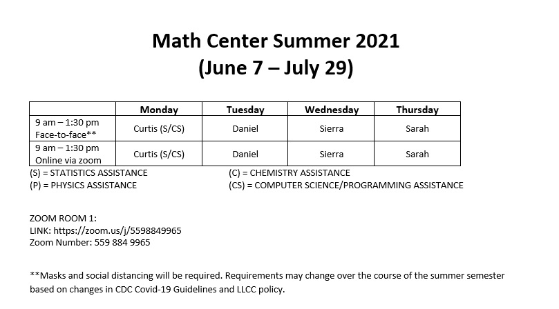 Math Center Summer 2021 (June 7 - July 29). Hours are 9 a.m.-1:30 p.m. Face-to-face (Masks and social distancing weill be required. Requirements may change over the course of the summer semester based on changes in CDC Covid-19 Guidelines and LLCC policy.) Online via Zoom hours are also 9 a.m.-1:30 p.m. Zoom Room 1: https://zoom.us/j/5598849965. Zoom Number: 559 884 9965. Curtis (statistics and computer science/programming assistance) is available Monday. Daniel is available Tuesday. Sierra is available Wednesday. Sarah is available Thursday.