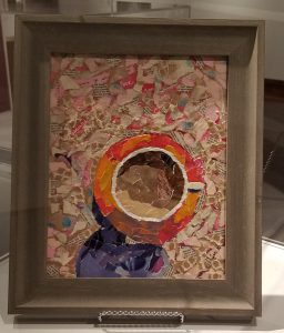 Mixed media art with torn paper