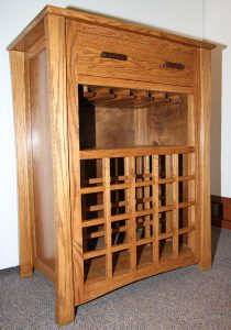 wooden wine rack with drawer, craftsman style