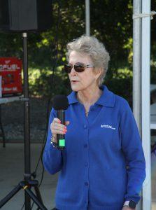 Dr. Charlotte Warren speaking at Lineman Rodeo