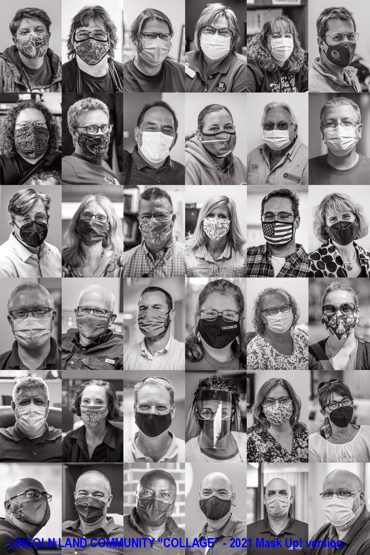 """36 faces of LLCC faculty and staff smiling behind their masks with the text: Lincoln Land Community """"Collage"""" - 2021 Mask Up! version."""