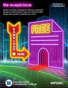 Be suspicious. Hackers use fake messages to make you download dangerous attachments or give out important data. Always ask yourself: Could this be a trick? Download here. Free. The Road to Cybersecurity. LLCC Lincoln Land Community College. Infosec.