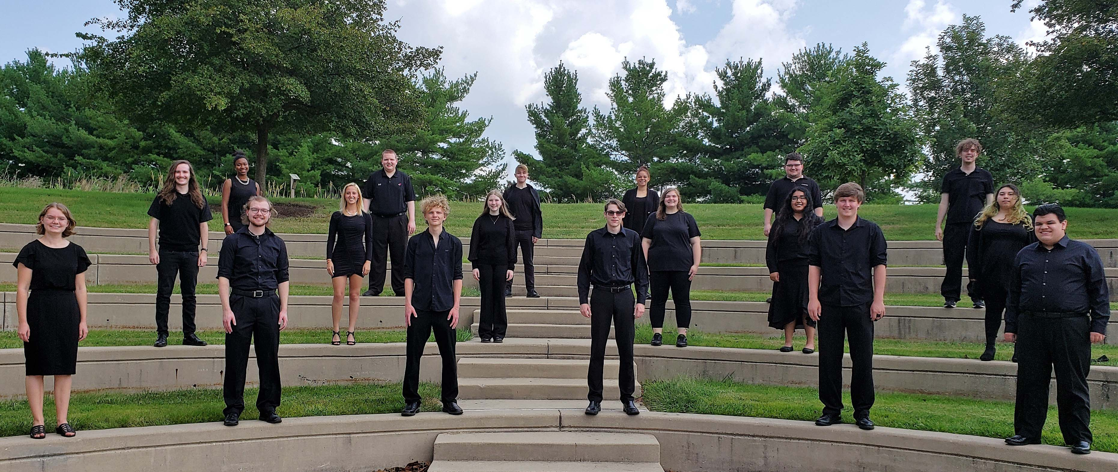 LLCC choir standing outside in ampitheater