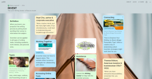 Invent. The LLCC Writing Center: A Place to Invent. The Padlet includes Definition; Types; Pearl Zhu, author & corporate executive; Working Together; Accessing Online Tools; Assistance; Connecting; and Thomas Edison, American inventor & businessman (1847-1931).